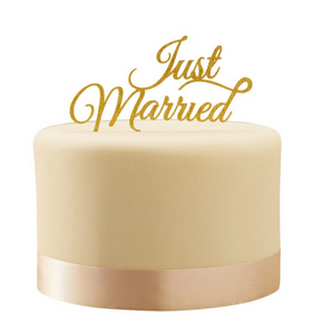 "Cake Topper ""Just Married"" Sparkle Gold"