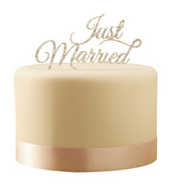 "Cake Topper ""Just Married"" Sparkle Silver"