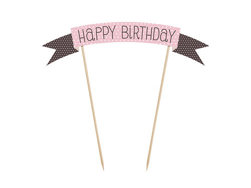 "Cake Topper ""Happy Birthday"" pink"